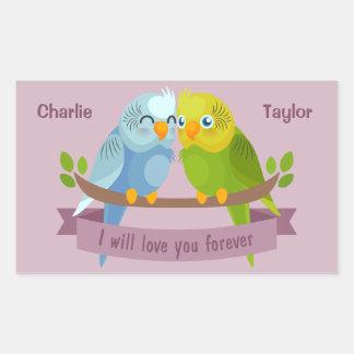Cute Love Birds custom names stickers