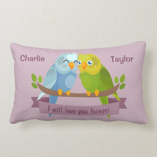 Cute Love Birds custom names throw pillows