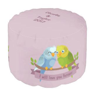 Cute Love Birds custom names & year poufs