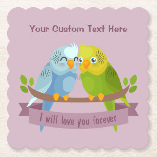 Cute Love Birds custom text paper coasters