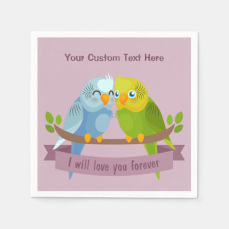 Cute Love Birds custom text paper napkins