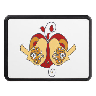 Cute Love Birds & Heart Red Brown design Trailer Hitch Cover