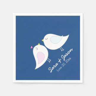 Cute Love Birds on Navy Blue Wedding Disposable Napkin