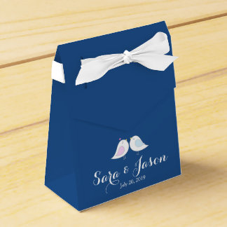Cute Love Birds on Navy Blue Wedding Party Favor Boxes