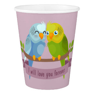 Cute Love Birds paper cups