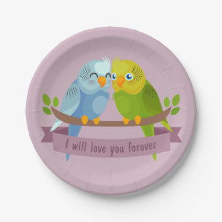 Cute Love Birds paper plates