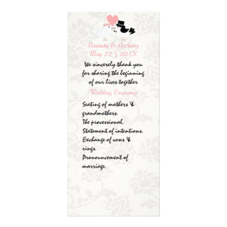 Cute love birds wedding program full colour rack card