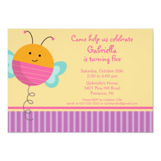 Cute Love bug Bumble Bee Birthday Party Invitation