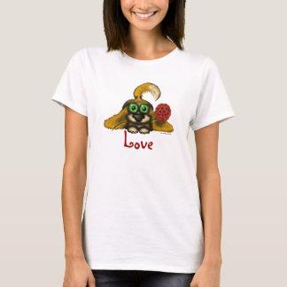 Cute love dog with flower cartoon art t-shirt
