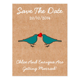 Cute Love Heart And Birdies Custom Save The Date Postcard