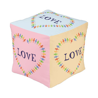 Cute LOVE Heart Design Cube Pouf