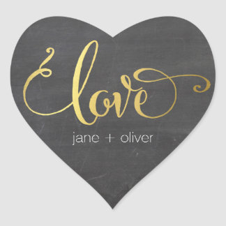 CUTE LOVE HEART SEAL modern gold foil chalkboard Heart Sticker