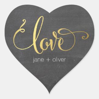 CUTE LOVE HEART SEAL modern gold foil chalkboard Heart Sticker