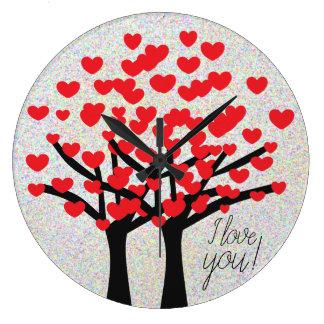 Cute Love Hearts Trees Design Large Clock