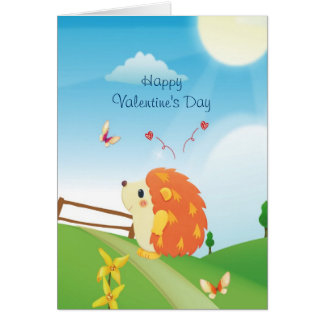 Cute Love Hedgehog with Butterfly Sunny Day Card