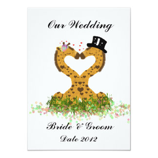 Cute Love Kiss Giraffes Heart  Wedding Invitation