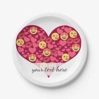 Cute Love Kiss Lips Emoji Heart 7 Inch Paper Plate