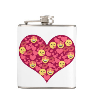 Cute Love Kiss Lips Emoji Heart Hip Flask