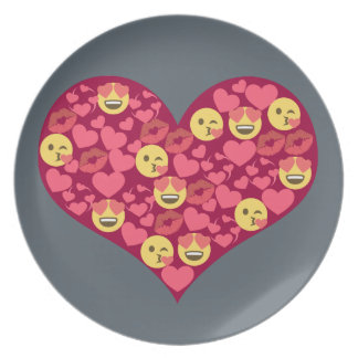 Cute Love Kiss Lips Emoji Heart Plate