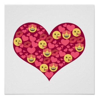 Cute Love Kiss Lips Emoji Heart Poster
