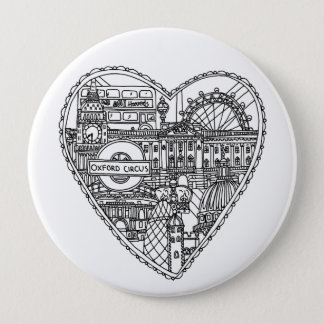 Cute Love London Badge 4 Inch Round Button