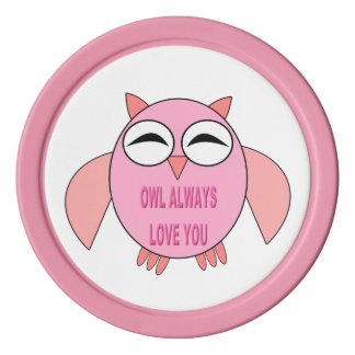 Cute Love Messaage Owl Poker Chip Set