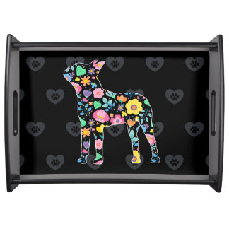 Cute Love My Boston Terrier floral design Serving Tray