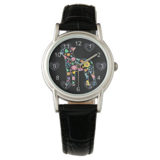 Cute Love My Boston Terrier floral design Watch