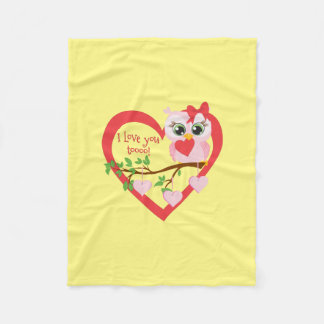 Cute Love Owl Fleece Blanket