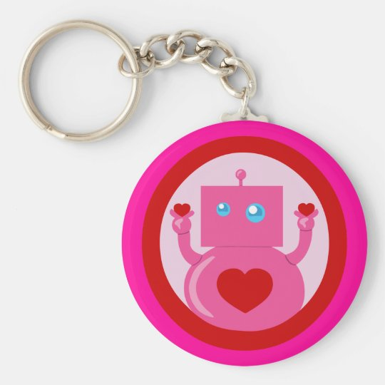Cute Love Robot Basic Round Button Keychain