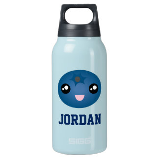 Cute Love You Berry Much Cartoon Blue Berry Insulated Water Bottle