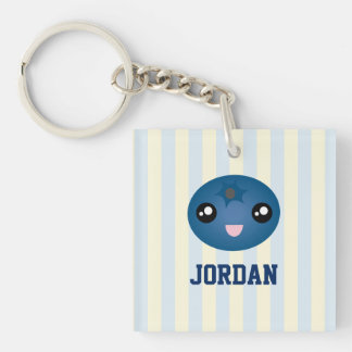 Cute Love You Berry Much Cartoon Blue Berry Keychain