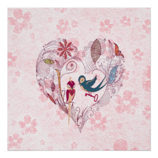 Cute loveable birds with the key to the  locket poster