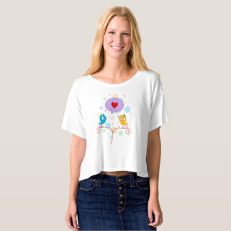 Cute lovebird crop top t-shirts