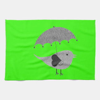 Cute Lovebird with Umbrella Towels