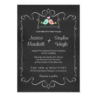 Cute Lovebirds Swing Chalkboard Wedding Invitation