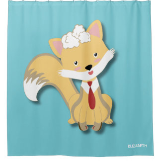 Cute Lovely Baby Fox With Red Tie Illustration