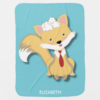 Cute Lovely Baby Fox With Red Tie Illustration Baby Blanket