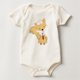 Cute Lovely Baby Fox With Red Tie Illustration Baby Bodysuit