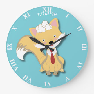 Cute Lovely Baby Fox With Red Tie Illustration Large Clock