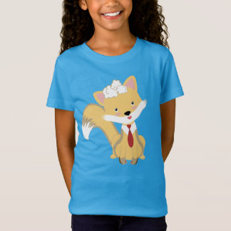 Cute Lovely Baby Fox With Red Tie Illustration T-Shirt