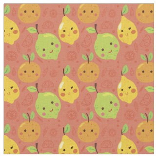 Cute Lovely Cartoon Orange, Lemon and Lime Fabric