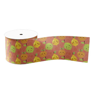 Cute Lovely Cartoon Orange, Lemon and Lime Grosgrain Ribbon
