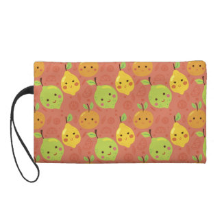 Cute Lovely Cartoon Orange, Lemon and Lime Wristlet