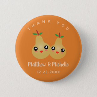 Cute Lovely Pair Whimsical Wedding Favor Thank You 2 Inch Round Button