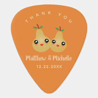 Cute Lovely Pair Whimsical Wedding Favor Thank You Guitar Pick