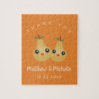 Cute Lovely Pair Whimsical Wedding Favor Thank You Jigsaw Puzzle