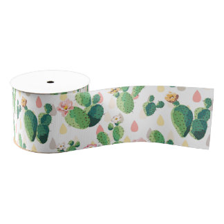Cute Lovely Succulent Cactus Grosgrain Ribbon