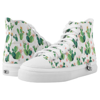 Cute Lovely Succulent Cactus High Top Shoes