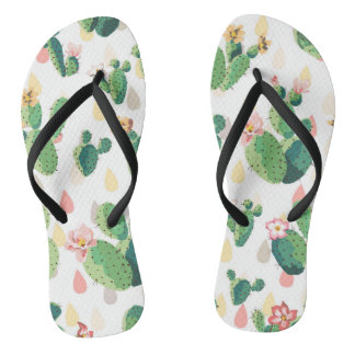 Cute Lovely Succulent Cactus Slim Straps Flip Flops